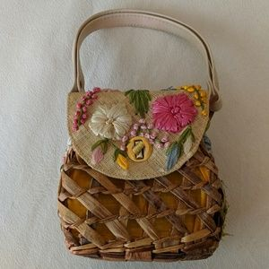 Vintage Bags By Patricia Floral Straw Bag Purse